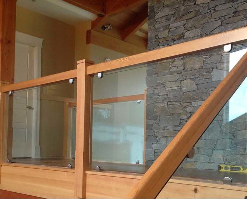 wood top glass railings